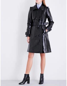 Claudie Pierlot Ladies Noir Faux-Patent Leather Trench Coat