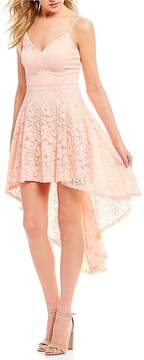 B. Darlin Spaghetti Strap Lace High-Low Dress