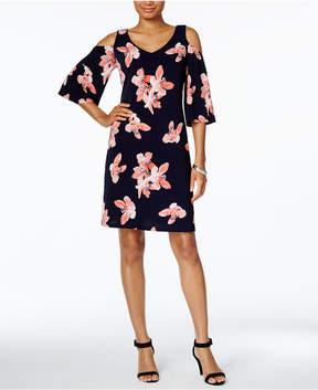 Connected Petite Floral-Print Cold-Shoulder Dress