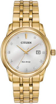 Citizen Men's Eco-Drive Diamond Accent Gold-Tone Stainless Steel Bracelet Watch 39mm BM7342-50A