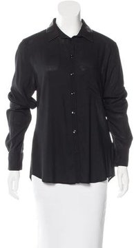 Boy By Band Of Outsiders Leather-Accented Button-Up Top