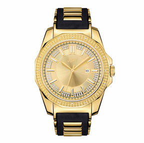 JBW Mens Gold Tone And Black Diamond Accent Strap Watchj6332A
