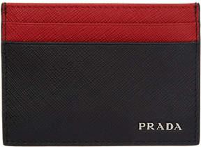 Prada Black and Red Saffiano Card Holder