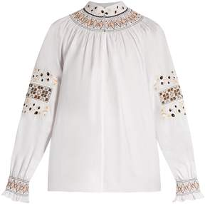 Tibi Cora embroidered cotton top