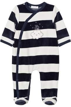 Absorba Navy and White Cloud Applique Stripe Velour Babygrow