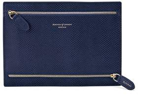 Aspinal of London Multi Currency Wallet In Midnight Blue Lizard