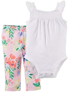 Carter's Infant Girl 2 PC White Smocked Bodysuit Pink Floral Leggings Outfit 24m