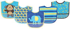 Luvable Friends Blue Elephant Waterproof Bib Set