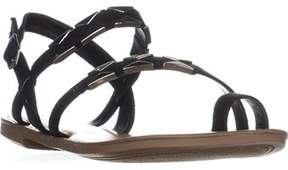 Bar III B35 Vadya Flat Toe Ring Buckle Sandals, Black.
