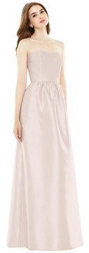 Alfred Sung Women's Strapless Sateen A-Line Gown