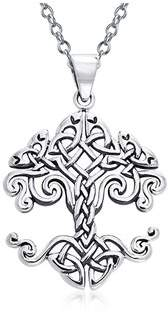 Celtic Bling Jewelry Tree Of Life Knot Sterling Silver Pendant.