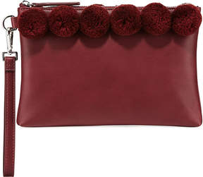 French Connection Poppy Faux-Leather Pompom Clutch Bag