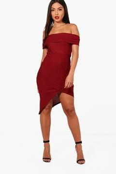 boohoo Alaina Off the Shoulder Wrap Midi Dress