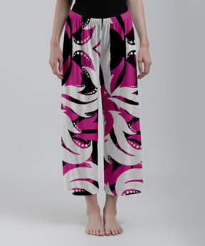 Lily Pink & White Abstract Foliage Palazzo Crop Pants - Women & Plus