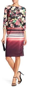 ECI 3/4 Sleeve Print Scuba Sheath Dress