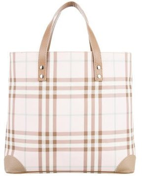 Burberry Leather-Trimmed Nova Check Tote - PINK - STYLE