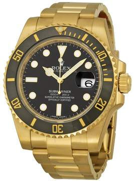 Rolex Submariner Black Dial 18K Yellow Gold Oyster Bracelet Automatic Men's Watch 116618BKSO