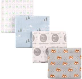 Luvable Friends Gray Fox Flannel Receiving Blanket Set