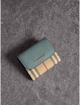 Burberry Leather and Haymarket Check Wallet - EUCALYPTUS GREEN/MULTICOLOUR - STYLE