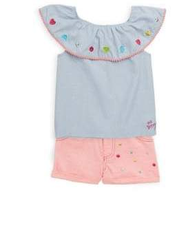 Betsey Johnson Little Girl's Two-Piece Embroidered Top and Shorts Set