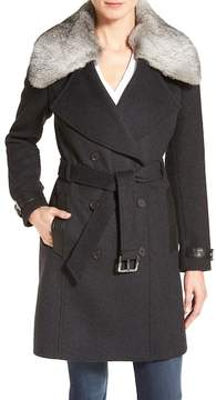 Andrew Marc Genuine Rabbit Fur Trim Wool Blend Coat