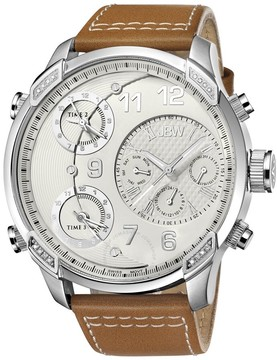 JBW G4 Multi-Time Zone Stainless Steel Case Brown Leather Men's Watch