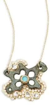 Armenta Sueno White Diamond, Turquoise Sapphire, White Sapphire & 18K Goldplated Star Pendant Necklace