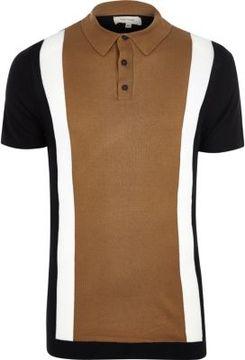 River Island Mens Brown color block polo shirt