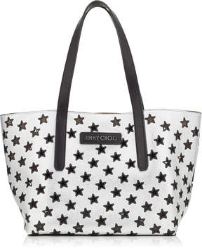 Jimmy Choo SOFIA/M Black and Silver Metallic Nappa Leather Tote Bag with Perforated Stars
