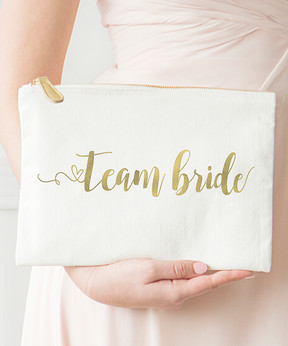 Cathy's Concepts 'Team Bride' Gold Foil Clutch