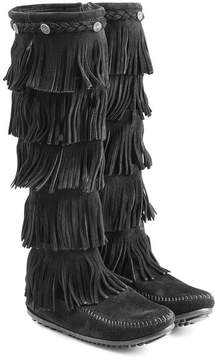 Minnetonka Fringed Suede Knee Boots with Studs