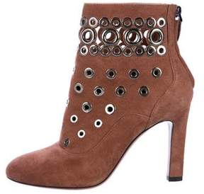Alaia Suede Embellished Ankle Boots