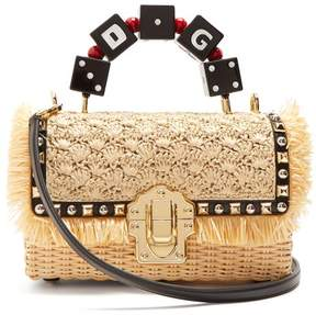 Dolce & Gabbana Lucia Stud Embellished Wicker Basket Bag - Womens - Cream Multi
