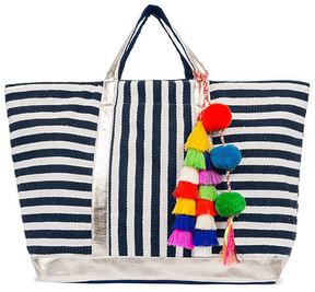 JADEtribe Nautical Stripe Tassel Tote