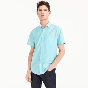 J.Crew Short-sleeve stretch American Pima oxford shirt in turquoise