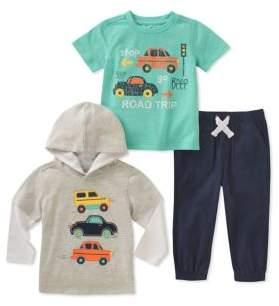 Kids Headquarters Baby Boy's Three-Piece Cars Shirt, Hoodie and Pant Set