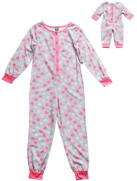 Dollie & Me Girls 4-14 Heart One-Piece Pajama Set