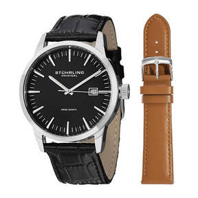 Stuhrling Original Mens Black Strap Watch-Sp14355