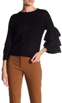 Catherine Malandrino Tiered Ruffle Pullover Sweater