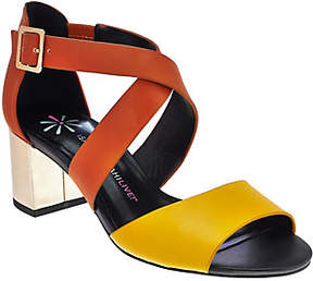 Isaac Mizrahi Live! Leather Sandals with BlockHeel