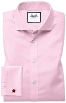 Charles Tyrwhitt Slim Fit Spread Collar Non-Iron Twill Pink Cotton Dress Shirt Single Cuff Size 14.5/32