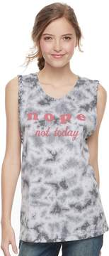 Awake Juniors' Nope, Not Today Tie-Dye Tank