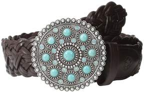 Ariat Turquoise Concho Buckle Braided Belt Women's Belts