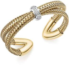 Roberto Coin 18K White and Yellow Gold Primavera Diamond Cuff Bracelet - 100% Exclusive