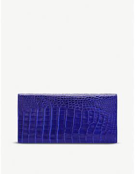 Smythson Mara crocodile-embossed calf leather slim travel wallet