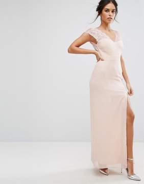Elise Ryan Maxi Dress With Eyelash Lace Sleeve And V Back