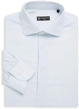 Corneliani Men's Dot-Print Cotton Dress Shirt