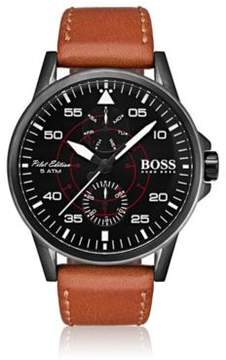 BOSS Hugo Aviator Casual Sport, Leather Strap Watch 1513517 One Size Assorted-Pre-Pack