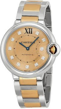 Cartier Ballon Bleu Rose Gold Dial Steel and 18kt Rose Gold Ladies Watch