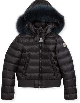 Moncler New Alberta Quilted Coat w/ Fur Trim, Size 8-14